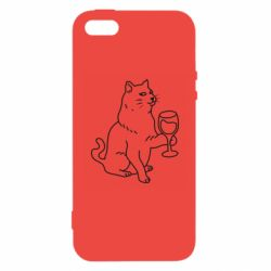 Чохол для iphone 5/5S/SE Cat with a glass of wine