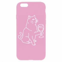 Чохол для iPhone 6/6S Cat with a glass of wine