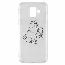 Чохол для Samsung A6 2018 Cat with a glass of wine