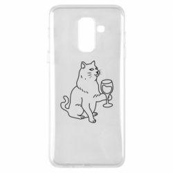 Чохол для Samsung A6+ 2018 Cat with a glass of wine