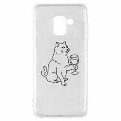 Чохол для Samsung A8 2018 Cat with a glass of wine