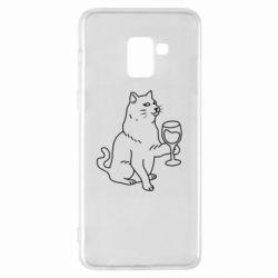 Чохол для Samsung A8+ 2018 Cat with a glass of wine