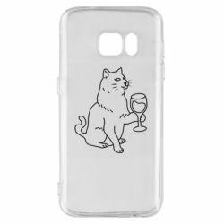 Чохол для Samsung S7 Cat with a glass of wine