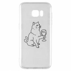 Чохол для Samsung S7 EDGE Cat with a glass of wine