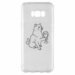 Чохол для Samsung S8+ Cat with a glass of wine