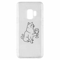 Чохол для Samsung S9 Cat with a glass of wine