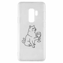 Чохол для Samsung S9+ Cat with a glass of wine