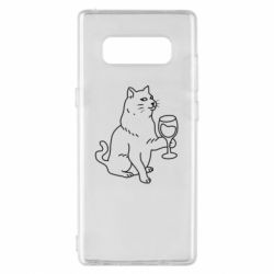 Чохол для Samsung Note 8 Cat with a glass of wine
