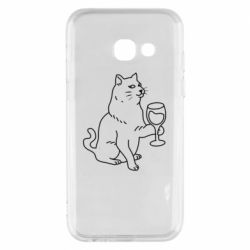 Чохол для Samsung A3 2017 Cat with a glass of wine
