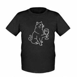 Дитяча футболка Cat with a glass of wine