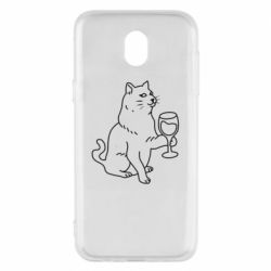 Чохол для Samsung J5 2017 Cat with a glass of wine