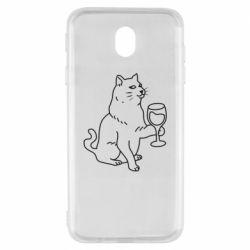 Чохол для Samsung J7 2017 Cat with a glass of wine