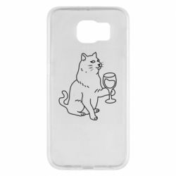 Чохол для Samsung S6 Cat with a glass of wine