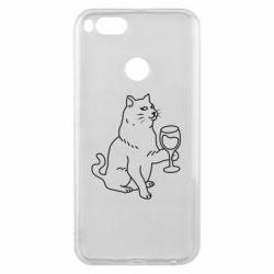 Чохол для Xiaomi Mi A1 Cat with a glass of wine