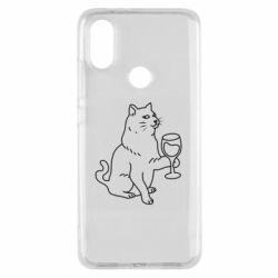 Чохол для Xiaomi Mi A2 Cat with a glass of wine