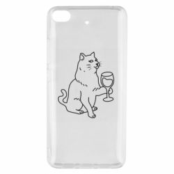 Чохол для Xiaomi Mi 5s Cat with a glass of wine