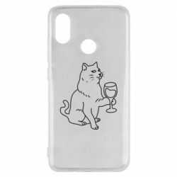 Чохол для Xiaomi Mi8 Cat with a glass of wine