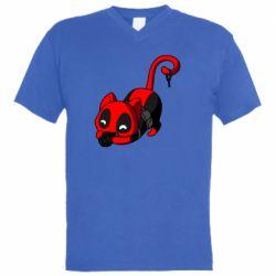 Мужская футболка  с V-образным вырезом Cat with a grenade