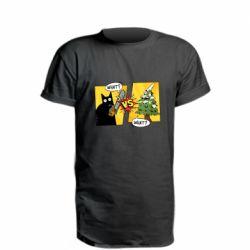Удлиненная футболка Cat with a saw