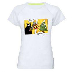 Женская спортивная футболка Cat with a saw