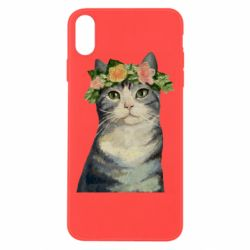 Чехол для iPhone Xs Max Cat with a wreath of art oil