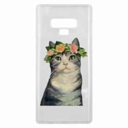 Чехол для Samsung Note 9 Cat with a wreath of art oil