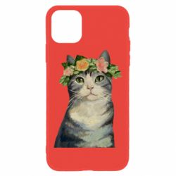 Чехол для iPhone 11 Cat with a wreath of art oil
