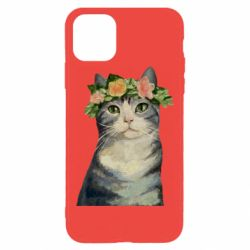 Чехол для iPhone 11 Pro Max Cat with a wreath of art oil