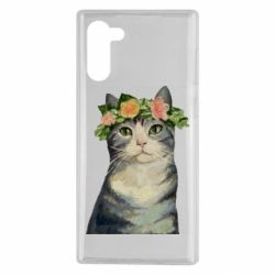 Чехол для Samsung Note 10 Cat with a wreath of art oil