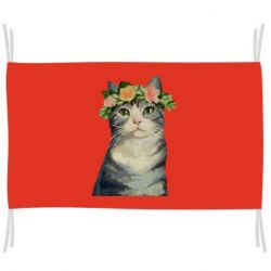 Флаг Cat with a wreath of art oil