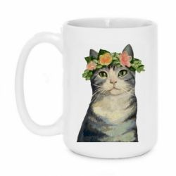 Кружка 420ml Cat with a wreath of art oil
