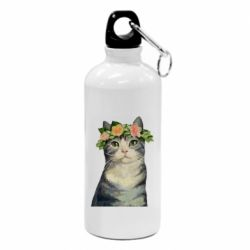 Фляга Cat with a wreath of art oil