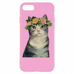 Чехол для iPhone 7 Cat with a wreath of art oil