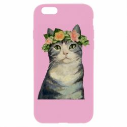 Чехол для iPhone 6/6S Cat with a wreath of art oil
