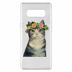 Чехол для Samsung Note 8 Cat with a wreath of art oil
