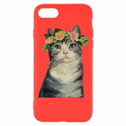 Чехол для iPhone 8 Cat with a wreath of art oil