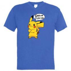 Мужская футболка  с V-образным вырезом Catch me if you can - FatLine