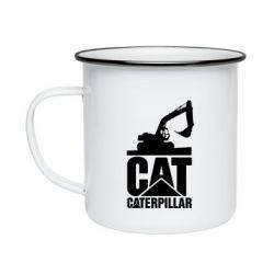 Кружка емальована Caterpillar cat