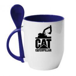 Кружка з керамічною ложкою Caterpillar cat