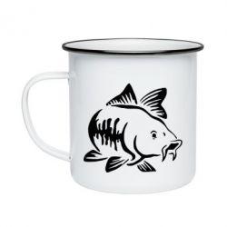Кружка емальована Catfish