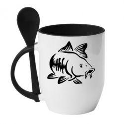 Кружка з керамічною ложкою Catfish