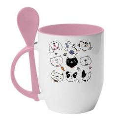 Кружка з керамічною ложкою Cats and dogs