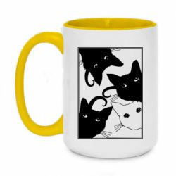 Кружка двухцветная 420ml Cats are watching