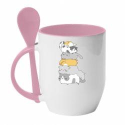 Кружка з керамічною ложкою Cats