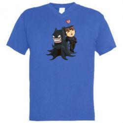Мужская футболка  с V-образным вырезом Catwoman and Angry Batman - FatLine
