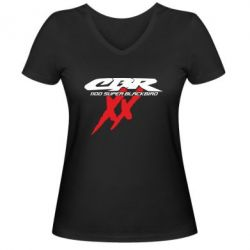 Женская футболка с V-образным вырезом CBR Super Blackbird  1100 XX - FatLine