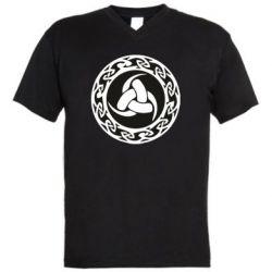 Чоловіча футболка з V-подібним вирізом Celtic knot circle