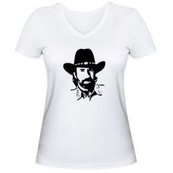 Женская футболка с V-образным вырезом Чак Норис - FatLine