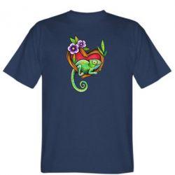 Мужская футболка Chameleon on a branch
