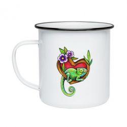 Кружка емальована Chameleon on a branch